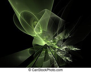 3D rendering with green abstract fractal broken chaos