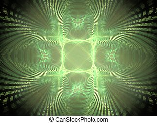3D rendering with green glowing abstract fractal