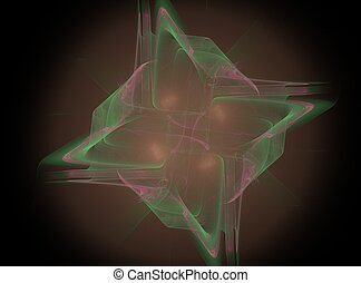 3D rendering with green pink abstract fractal in the form of a star in the fog