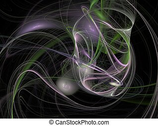 3D rendering with green purple abstract fractal with overlapping threads