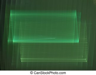 3D rendering with green wave abstract fractal