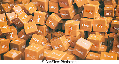 3d rendering word blog on cubes as background