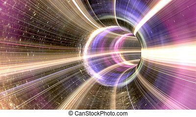 3d rendering of a wormhole. The futuristic tunnel has a bright lights in pink colors.