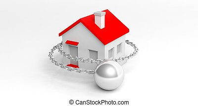 3d rendering wrecking ball and small house