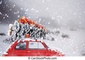3D Rendering xmas car travel - 3D Rendering car with...