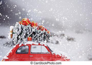 3D Rendering xmas car travel - 3D Rendering car with...