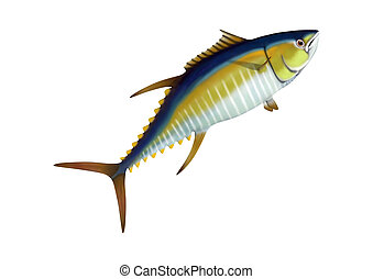 3D Rendering Yellowfin Tuna on White