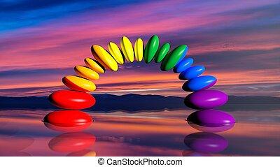 3d rendering zen stones in rainbow colors