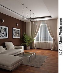 3d rendering.Modern design of a guest room with sensation of...