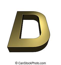 3d, rendido, dorado, fuente, -, carta, d