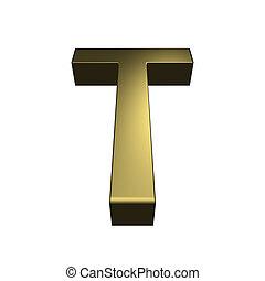 3d, rendido, dorado, fuente, -, carta, t