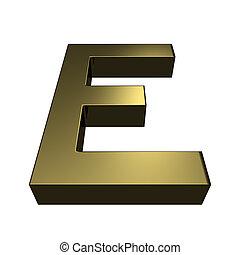 3d, rendido, dorado, fuente, -, letra e