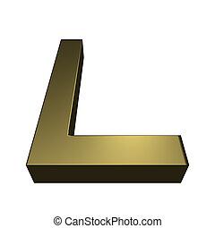 3d, rendido, dorado, fuente, -, letra l