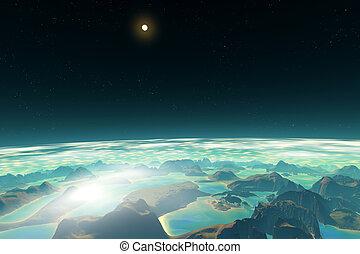 3d, rendido, fantasía, extranjero, planet., en, un, órbita