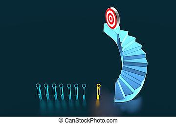 3d, rendre, équipe, sommet, aller, cible, escaliers., homme affaires