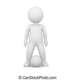 3d, rendre, de, a, joueur football, blanc