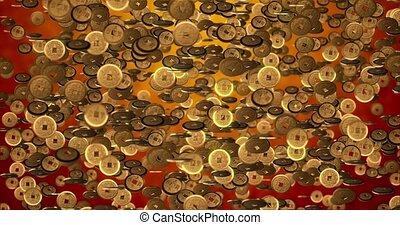 3d, rendre, pièces, année, texture., boucle, seamless, doré, 4k, chinois, fond, nouveau