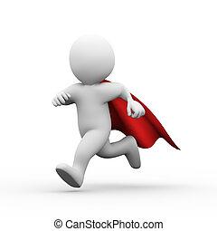 3d, rennender , super held, übermensch, in, a, regenmantel