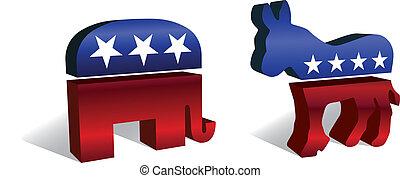 Three dimensional symbols of the republican and democratic parties.