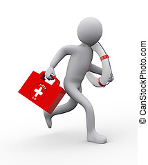 3d Illustration of man with lifebuoy ring and first aid box running for help. 3d rendering of people - human character.