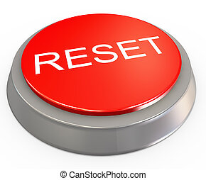 3d reset button - 3d render of reset button on white...