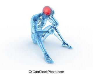 3d, reso, illustrazione medica, di, uno, sedendo maschio, -,...