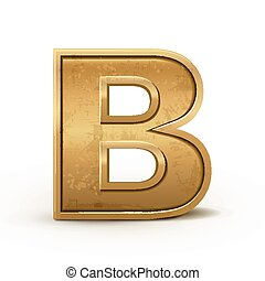 3d retro golden letter B