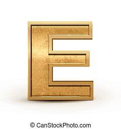 3d retro golden letter E
