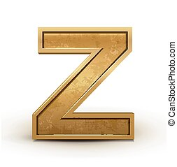 3d retro golden letter Z