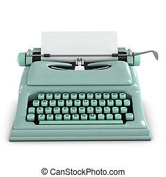 3d, retro, macchina scrivere