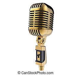 3d, retro, microphone., isolado, branco, com, caminho...