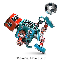 3D Retro Robot playing soccer. Isolated. Contains clipping path