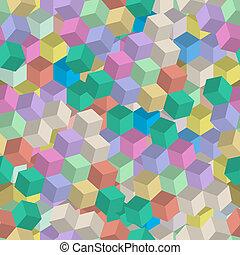 3d, retro, seamless, patrón, de, cubos