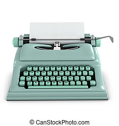3d Retro typewriter - 3d render of an old retro typewriter