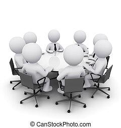3d, reunião, homem negócio