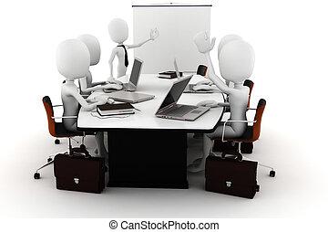 3d, reunión, hombre de negocios