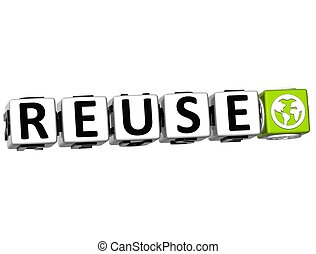 3D Reuse Button Click Here Block Text