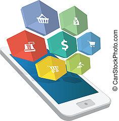 3d, rgeöffnete, smartphone, mit, wolke, von, ecommerce, heiligenbilder