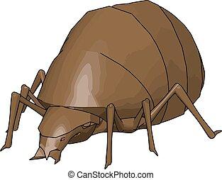 3D rhinoceros beetle, illustration, vector on white background.