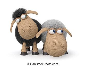 3d ridiculous sheep - mutual relation between two sheep