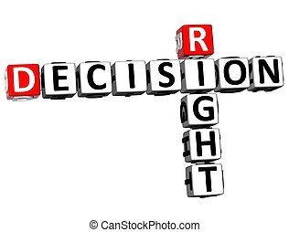 3D Right Decision Crossword on white background