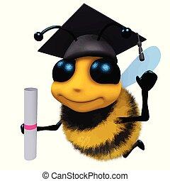 3d, rigolote, dessin animé, abeille miel, caractère, porter,...