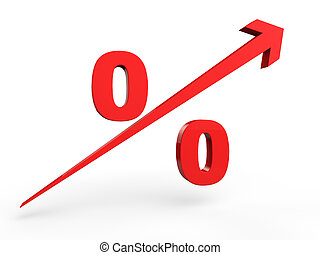 3d rising percentage sign
