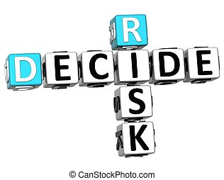 3D Risk Decide Crossword on white background