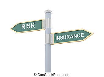 3d risk insurance road sign - 3d illustration of roadsign of...
