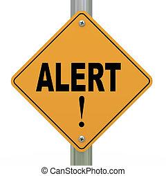3d road sign alert