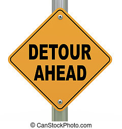 3d road sign detour ahead