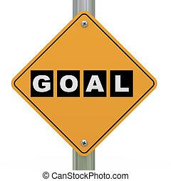 3d road sign goal