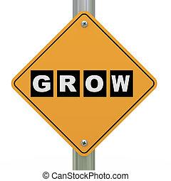 3d road sign grow