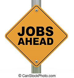 3d road sign jobs ahead